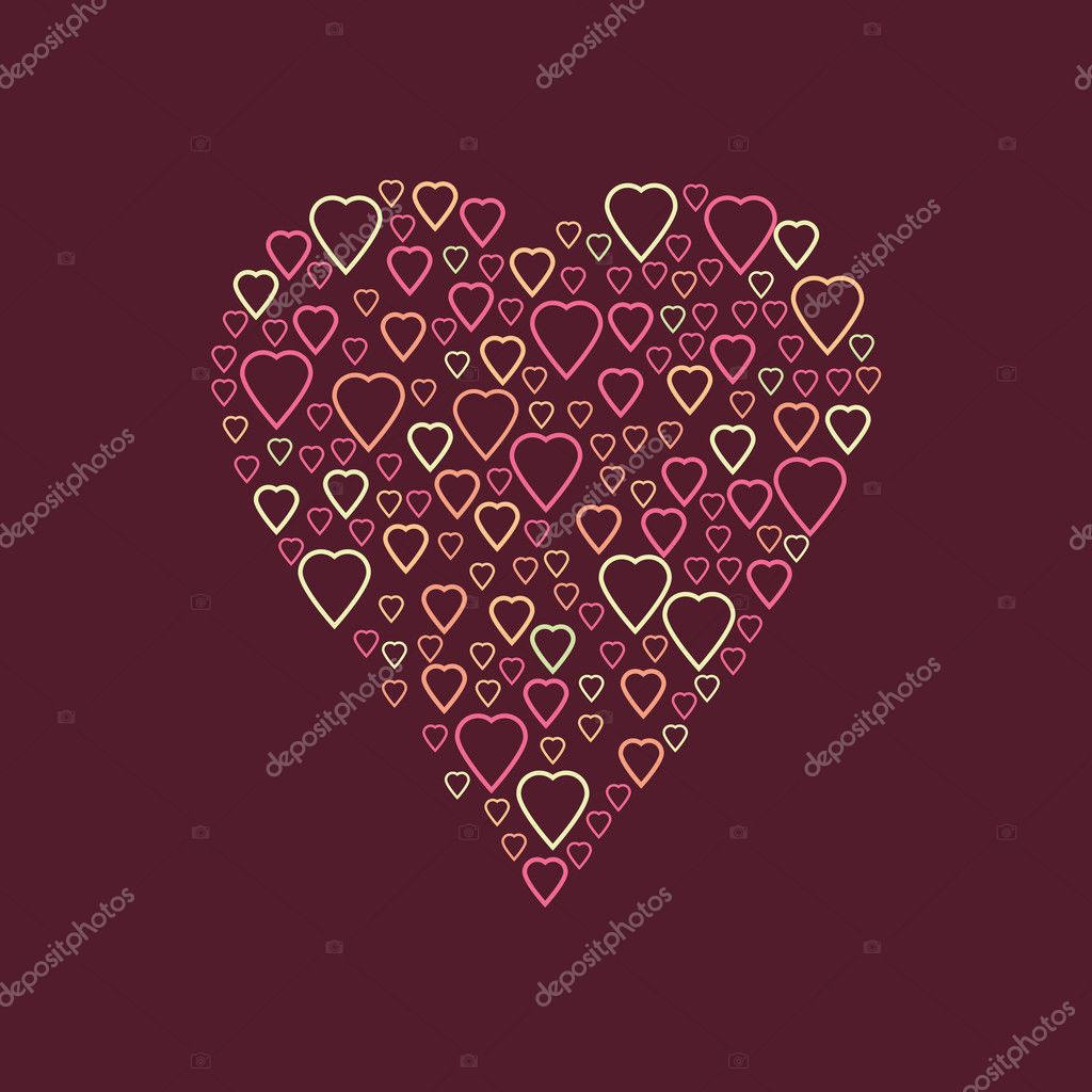 Bright colorful hearts vector background. Vector hearts group in ...