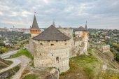 20 ottobre 2016 - Kamianets-Podilskyi, Ucraina. Vecchia Fortezza di Kamenetz-Podolsk vicino a Kamianets-Podilskyi town. Antica e splendida vista del castello medievale in Kamenetz-Podolsky, regione di Khmelnitsky