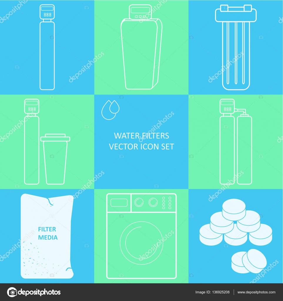 Übersicht-Leitungswasser-Filter-Symbol gesetzt. Getränk und home ...