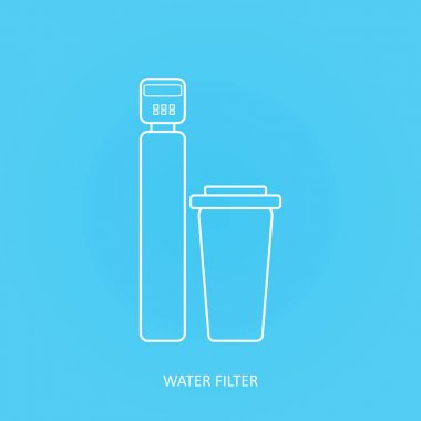 Tap water filter icon.. Drink and home water purification filters. Vector water filter icon. Water softener filter and salt dissolver tank vector icon