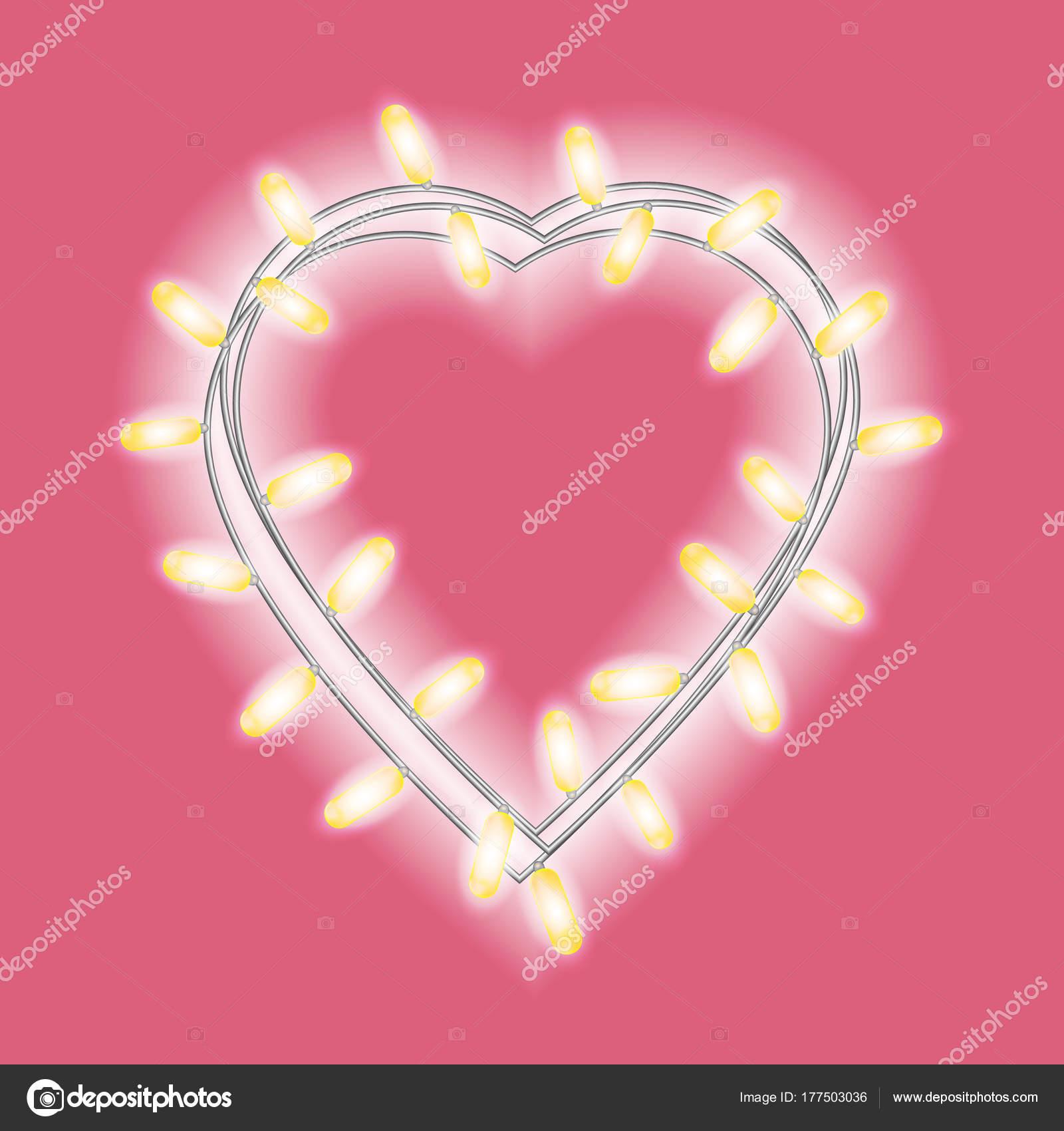 Girlande Form Von Herzen Mit Leuchtenden Lichtern Auf Hellen Rosa ...