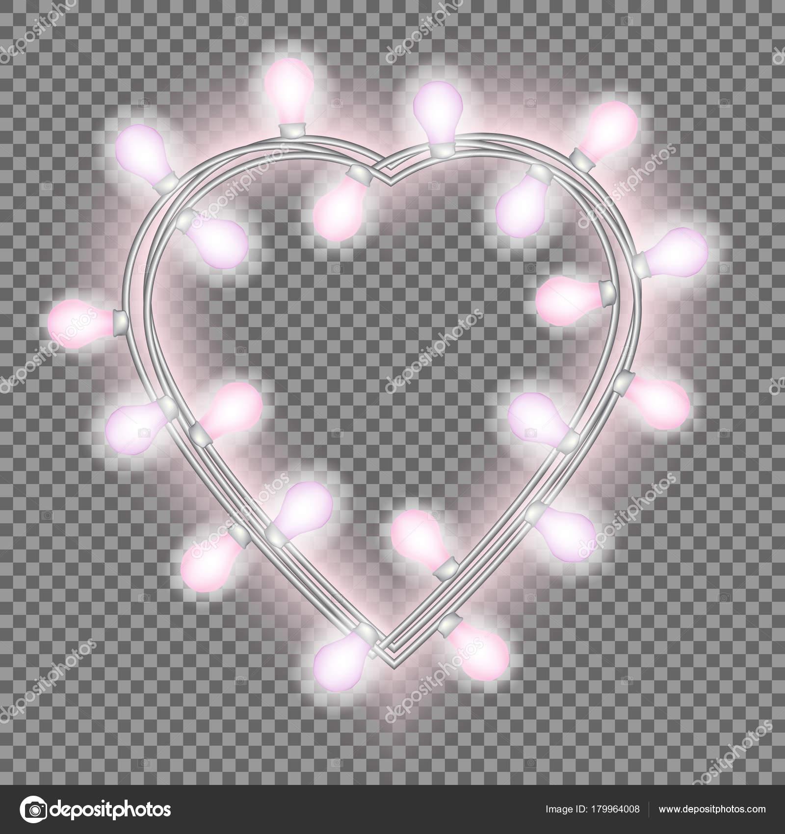 Girlande Form Von Herzen Mit Leuchtenden Rosa Lichter Auf ...