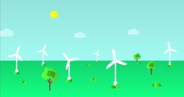 Větrné turbíny nebo větrné generátory v akci, kreslené animační video. Moderní větrné mlýny. Větrná energie. Koncepce alternativní obnovitelné energie
