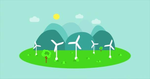 Generátory větru v akci, kreslené animační video. Moderní větrné mlýny nebo větrné turbíny. Větrná energie. Koncepce alternativní obnovitelné energie