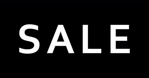 Verkauf. 4k animierten Text Hintergrund für Social Media Marketing Werbekampagnen. Weißes und rotes Verkaufswort animiert auf schwarzem Hintergrund