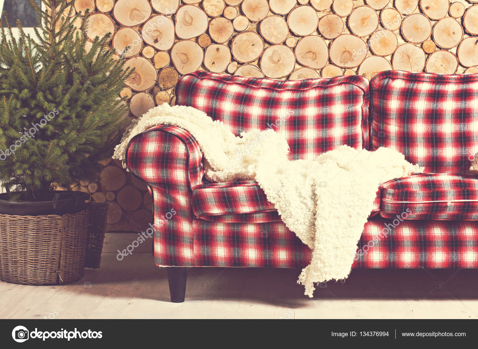 Checkered Sofa, Plaid, Spruce, Wooden Wall. The Cozy, Winter, New Yearu0027s  Interior. U2014 Photo By JuliaLototskaya