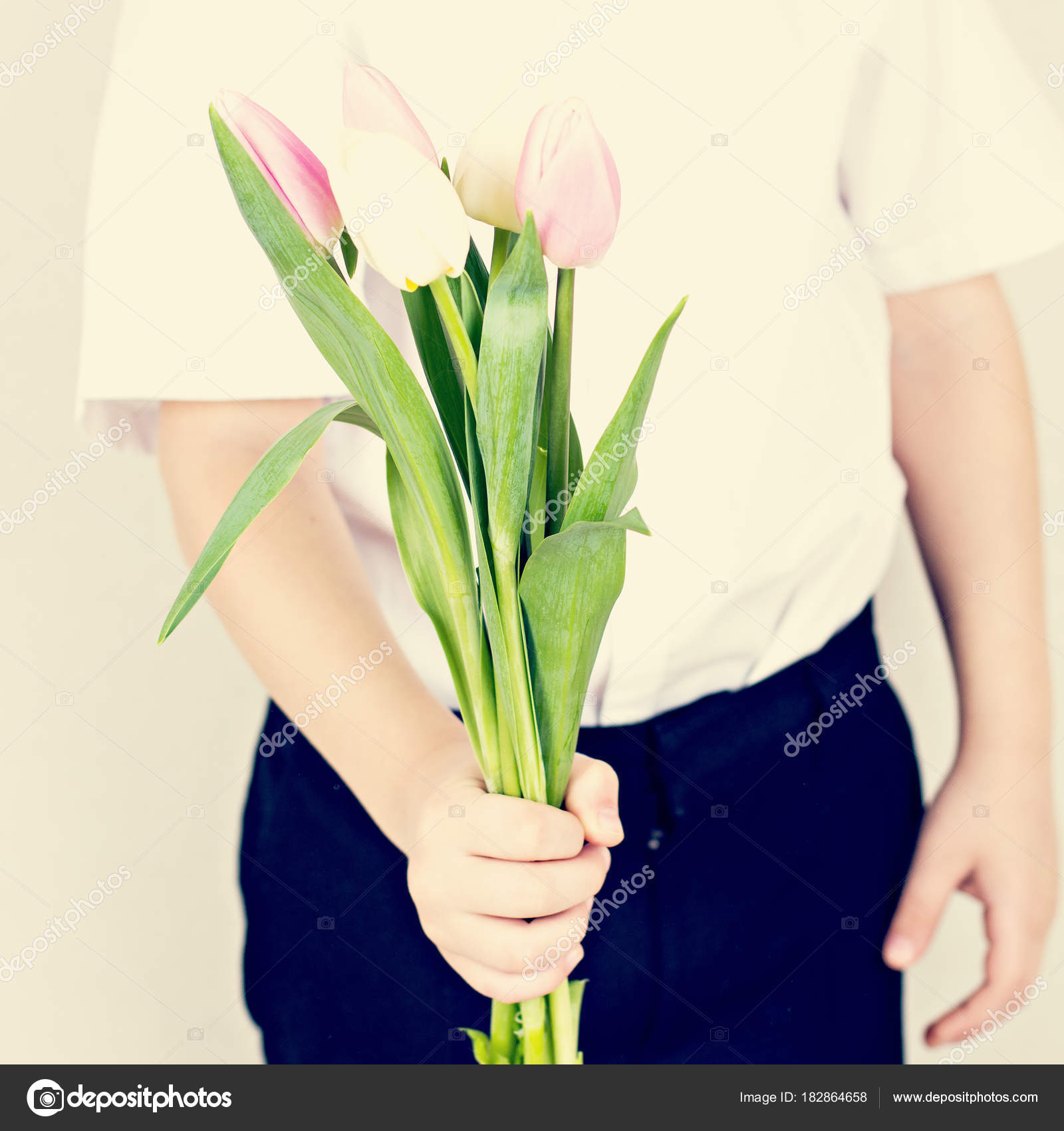 Bouquet Spring Flowers Children Hands Tulips Irises Early Spring