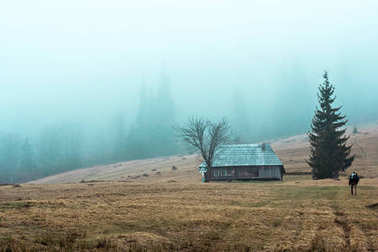 Mountain landscape in the fog. house in the mountains. Carpathian mountains.