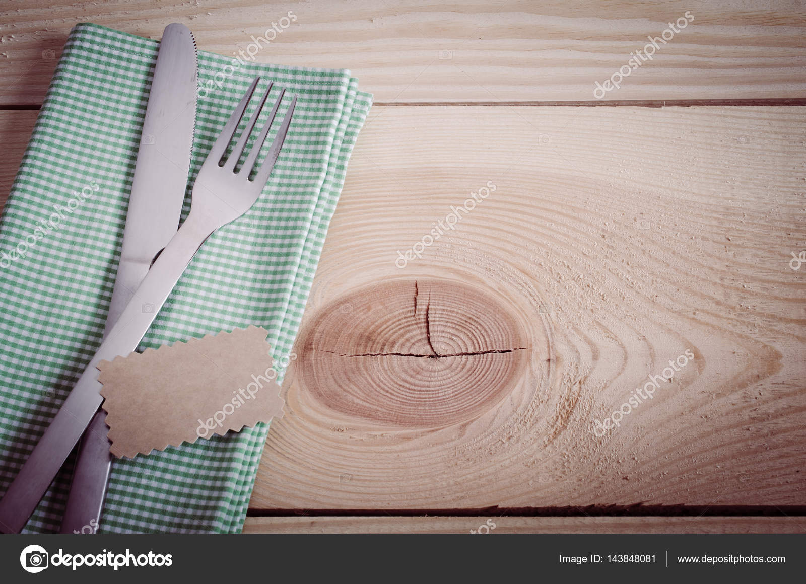Dining Table Setting. Cutlery with Empty Tag and Present on Linen Napkin on Rustic Wooden Background. Copy Space. Selective Focus. \u2014 Photo by Allchonok & Dining Table Setting. Cutlery with Empty Tag. \u2014 Stock Photo ...
