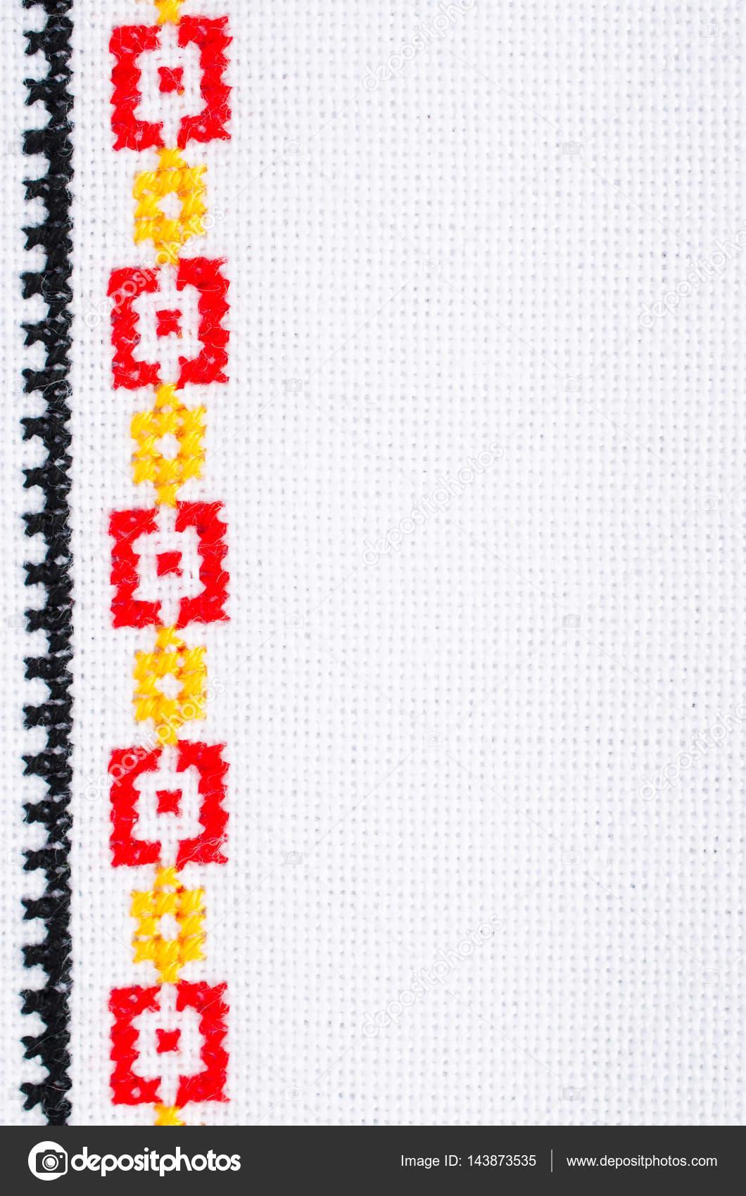 Elemento bordado hecho a mano de punto de Cruz. Fondo con el ...