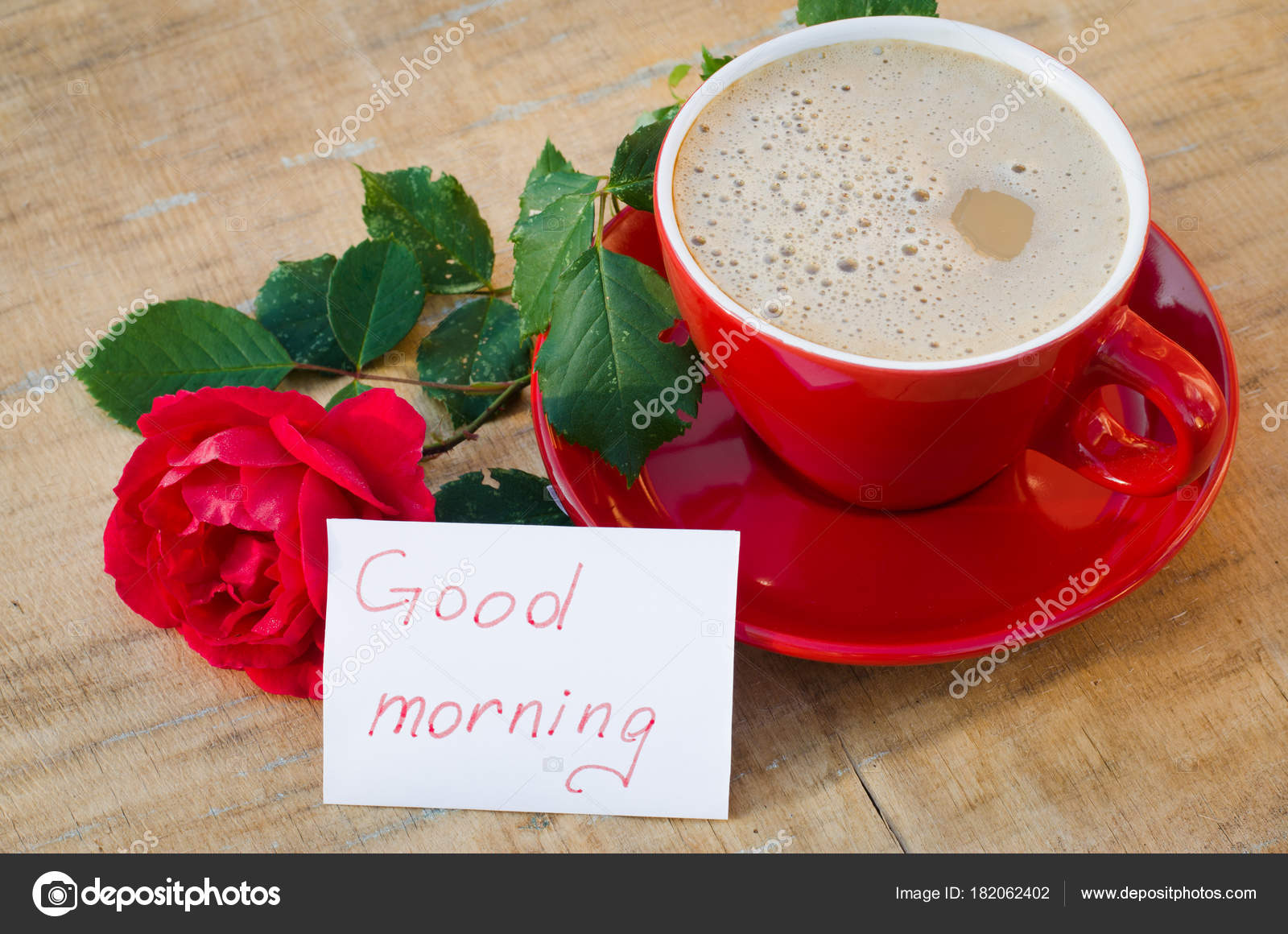 Coffee Cup With Red Rose And Notes Good Morning Stock Photo
