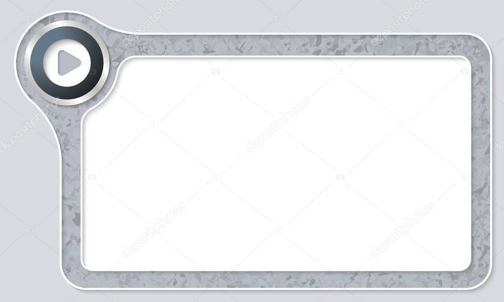 Vector marco para el texto con el patrón de mármol y jugar símbolo ...