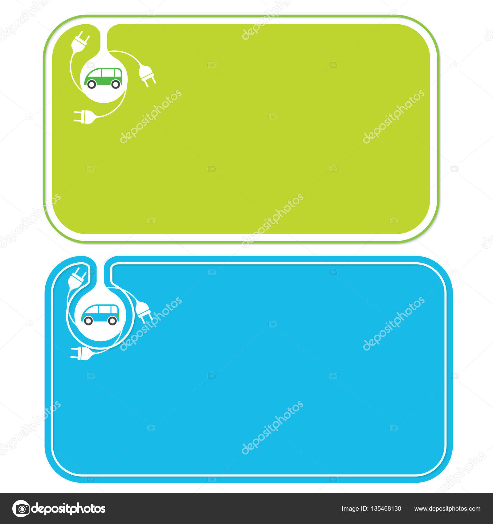 Colored business cards and electric car — Stock Vector ...