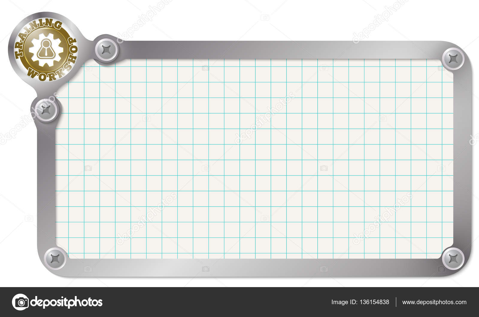 Metal frame for your text with graph paper and workshop icon — Stock ...