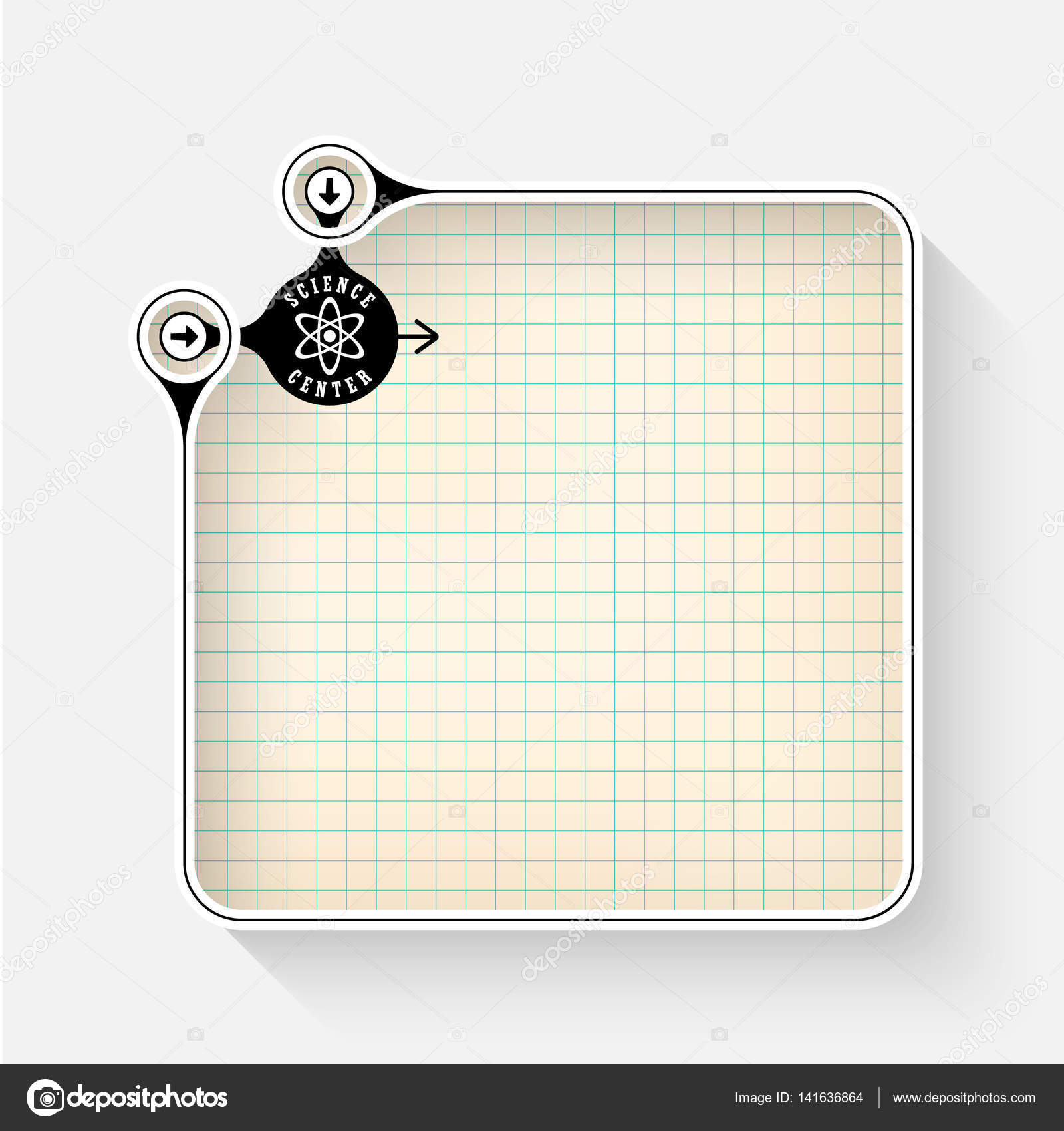 a white box for your text with graph paper and science icon stock