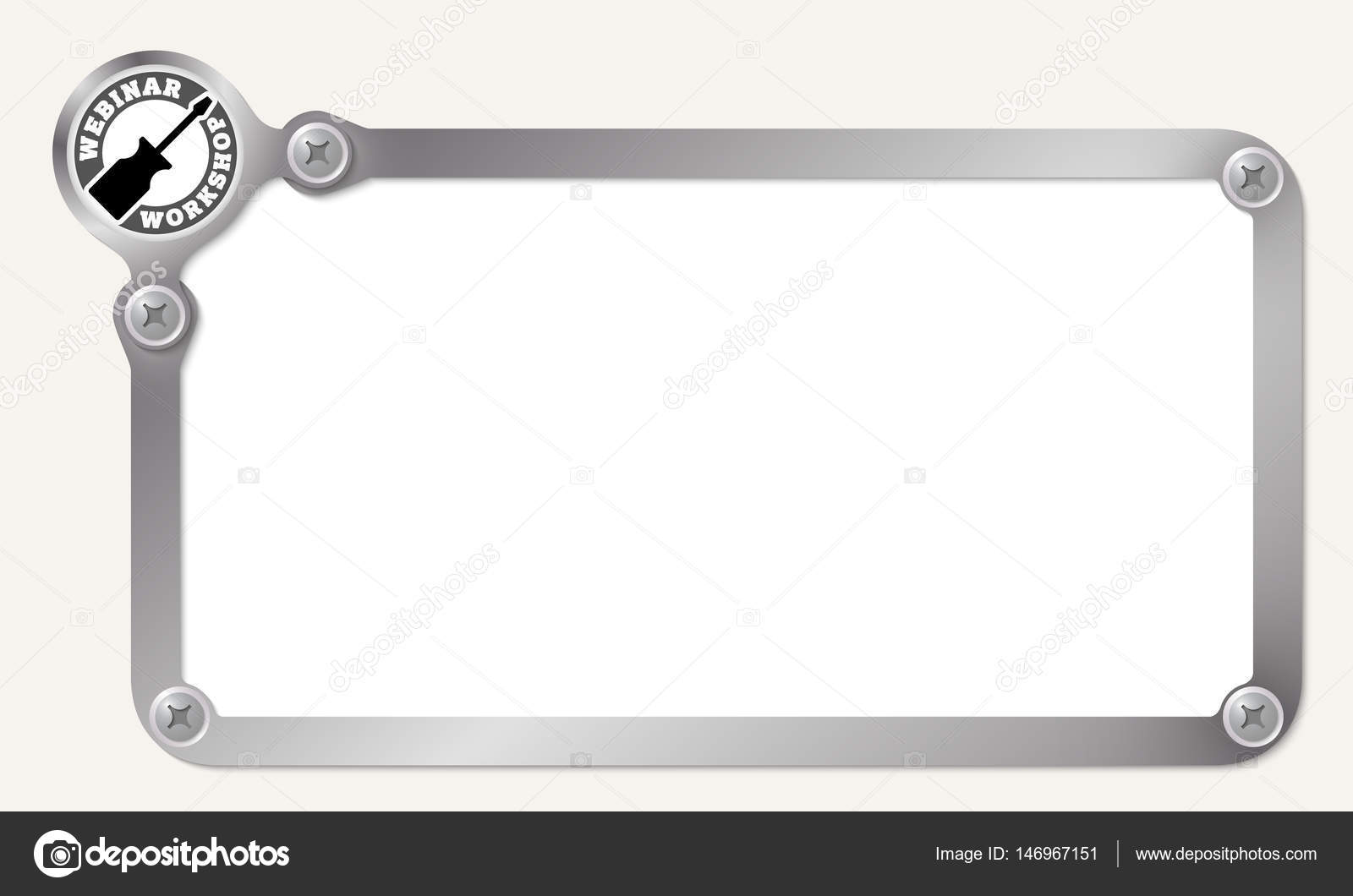 Metal frame for your text with workshop icon — Stock Vector ...