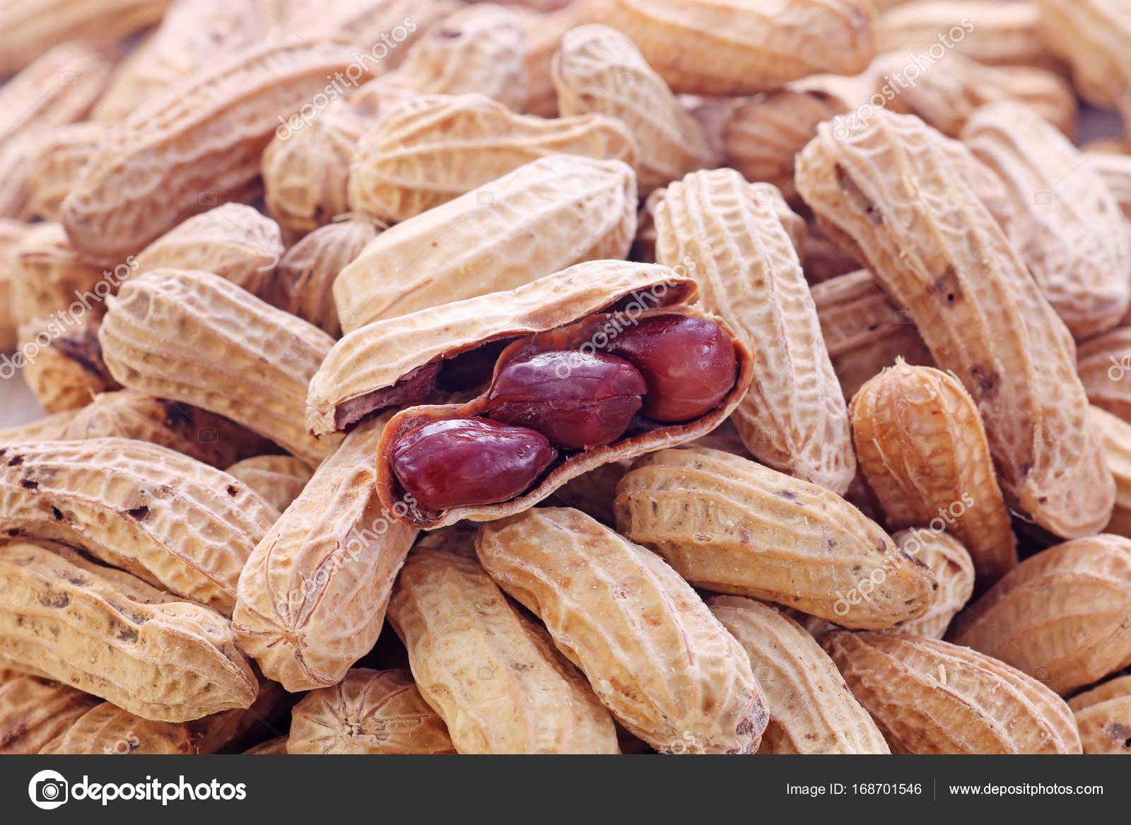 arachide coque ouverte sur groupe d'arachides — photographie
