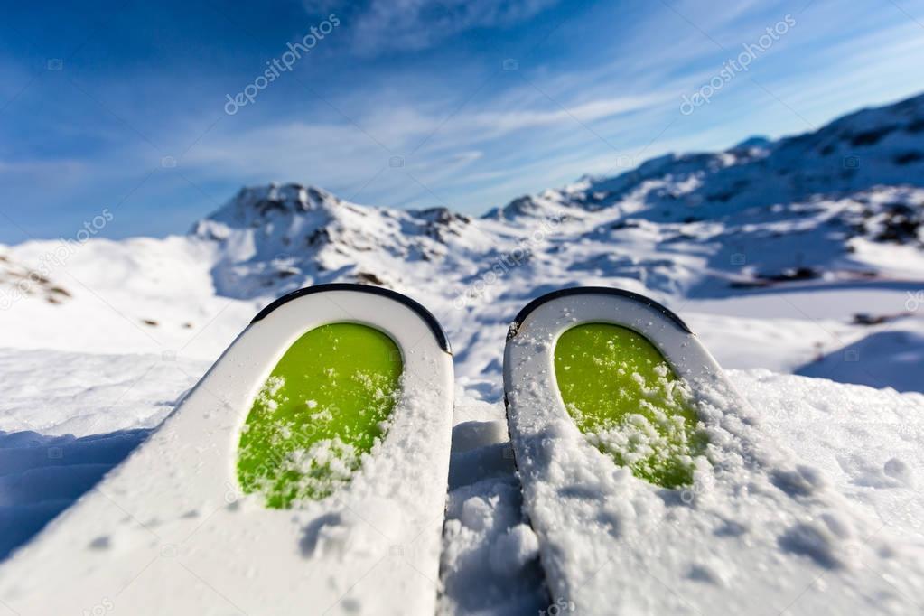 Ski tips ready for skiing