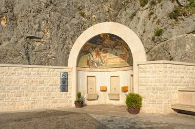 Holy spring at the entrance to Ostrog Male Orthodox Monastery