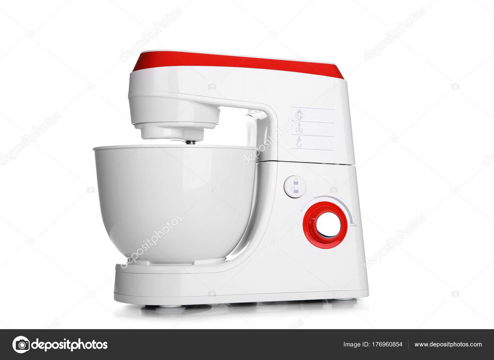 Automatische Mixer Keuken : Keuken staan food mixer op een witte achtergrond u stockfoto