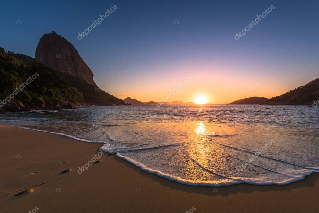 Red Beach with the Sugarloaf Mountain in Rio de Janeiro