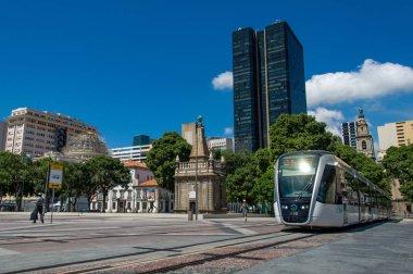 VLT tram is passing the Rio de Janeiro
