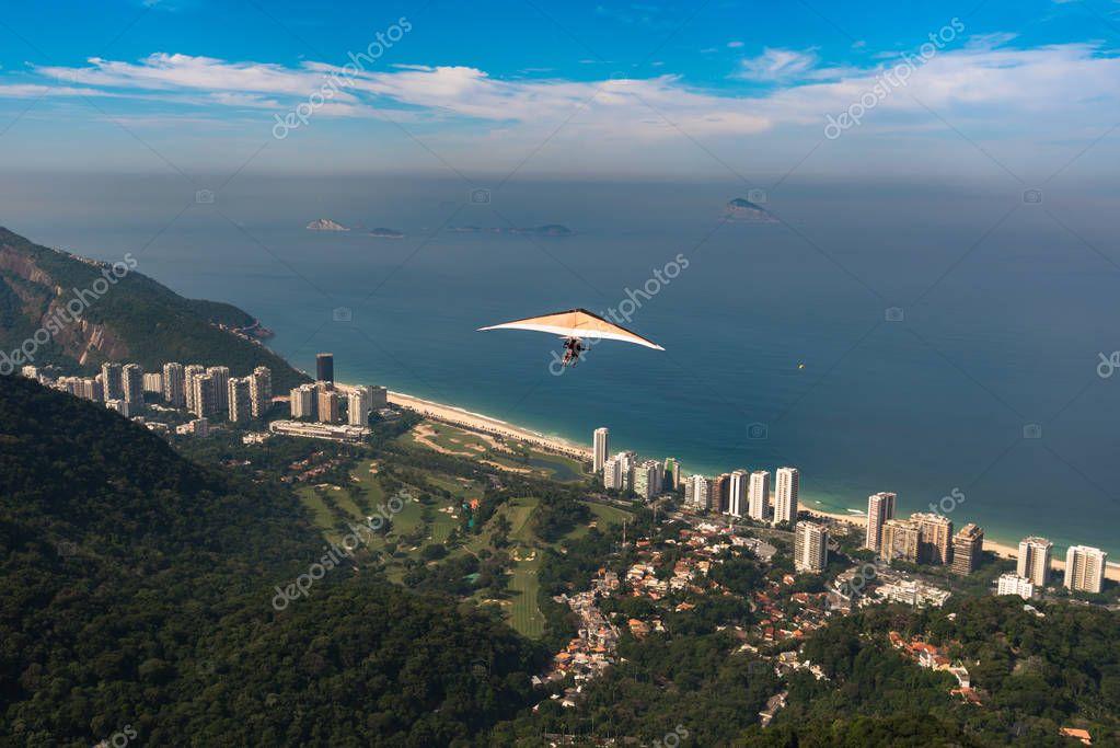 Hang Glider Above Coast of Rio de Janeiro