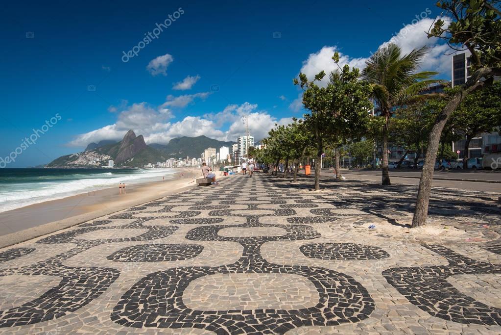Famous Mosaic Sidewalk of Ipanema Beach in Rio de Janeiro, Brazil