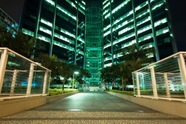 Facade of an Office Building at Night. Contemporary, company.