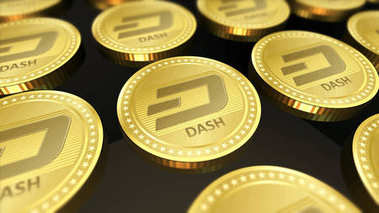 Dash coin cryptocurrency concept background