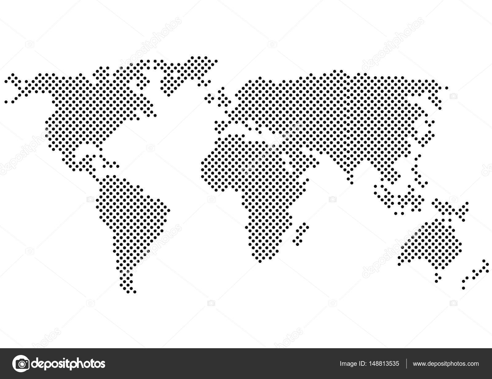 Black white vector polka dots map silhouette color halftone world black and white vector polka dots map silhouette color halftone world map vector by pizla09 gumiabroncs Image collections