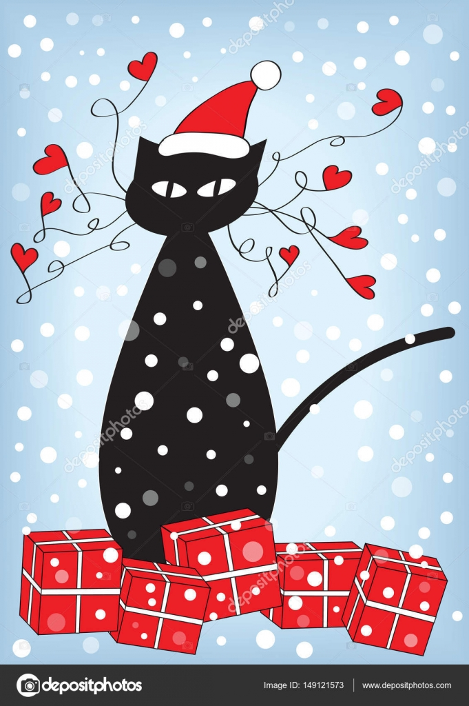 Frohe Weihnachten Katze.Frohe Weihnachten Cartoon Vektor Katze Mit Präsentiert Stockvektor