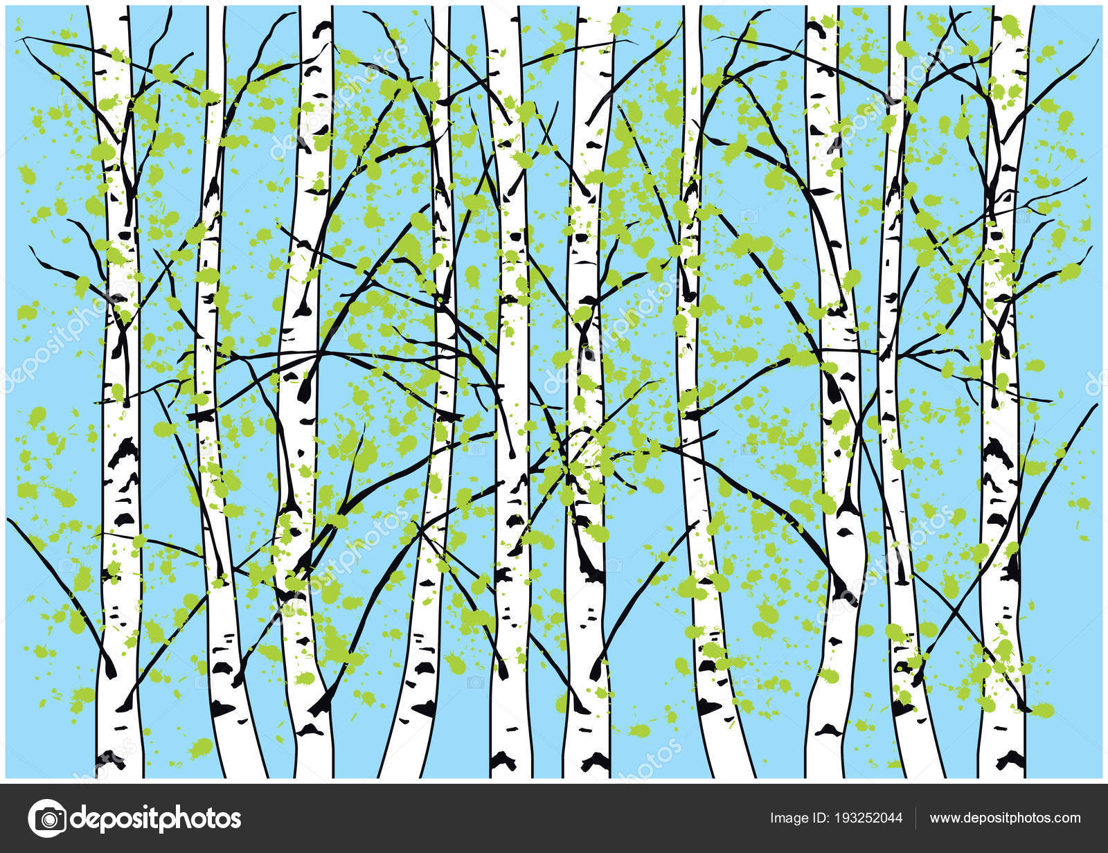 Spring birch trees illustration. Birch forest and blue sky. — Stock ...