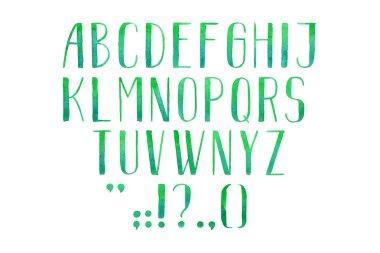 Colorful watercolor aquarelle alphabet letters