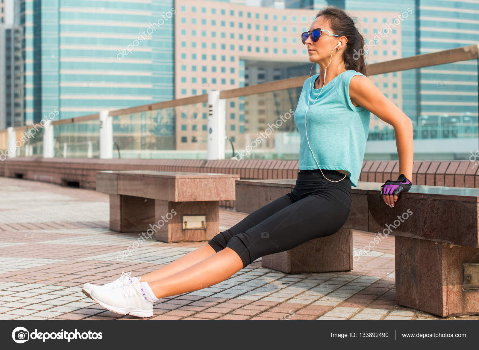 Marvelous Fit Woman Doing Triceps Bench Dips Exercise Stock Photo Creativecarmelina Interior Chair Design Creativecarmelinacom