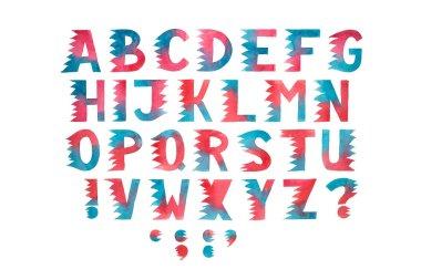 Aquarelle hand drawn alphabet