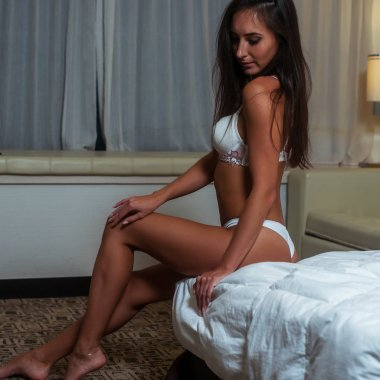 Attractive slender brown-haired swarthy model