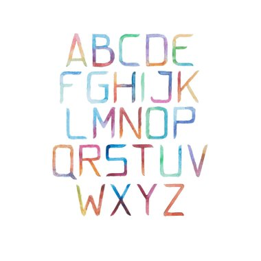 Watercolor aquarelle alphabet letters
