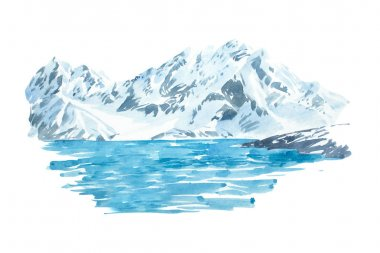 Natural beautiful winter landscape mountain and lake illustration.