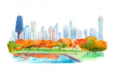 Autumn in city park natural beautiful landscape watercolor illustration.