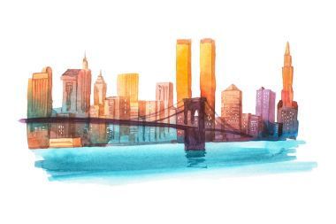 Manhattan bridge New York cityscape watercolor illustration.