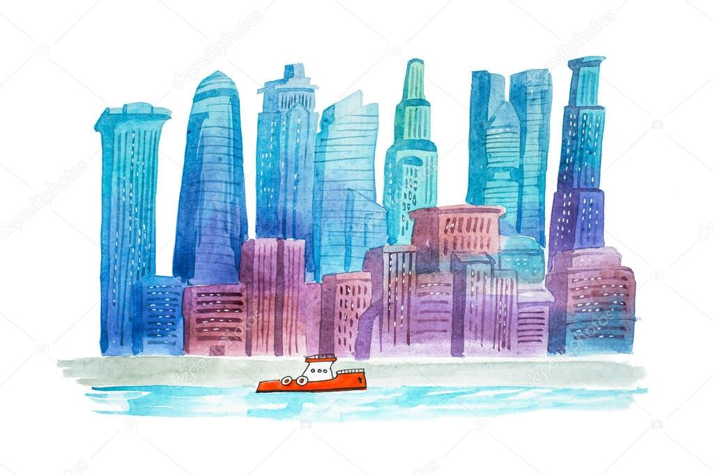 Aquarelle drawings cityscape skyline downtown watercolor illustration.