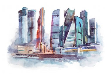watercolor drawing of Moscow city. International Business Center aquarelle painting