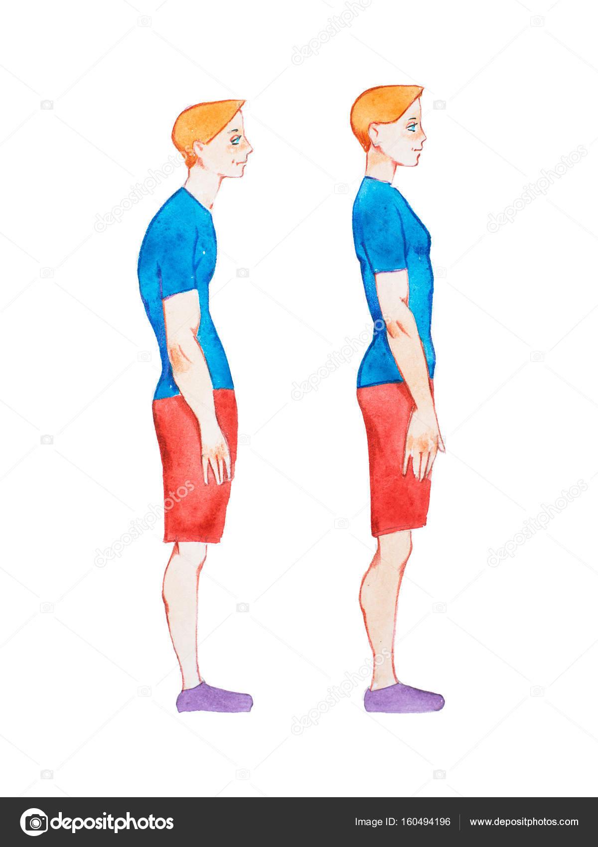 Aquarell Bild von Menschen mit richtigen und falschen Körperhaltung ...