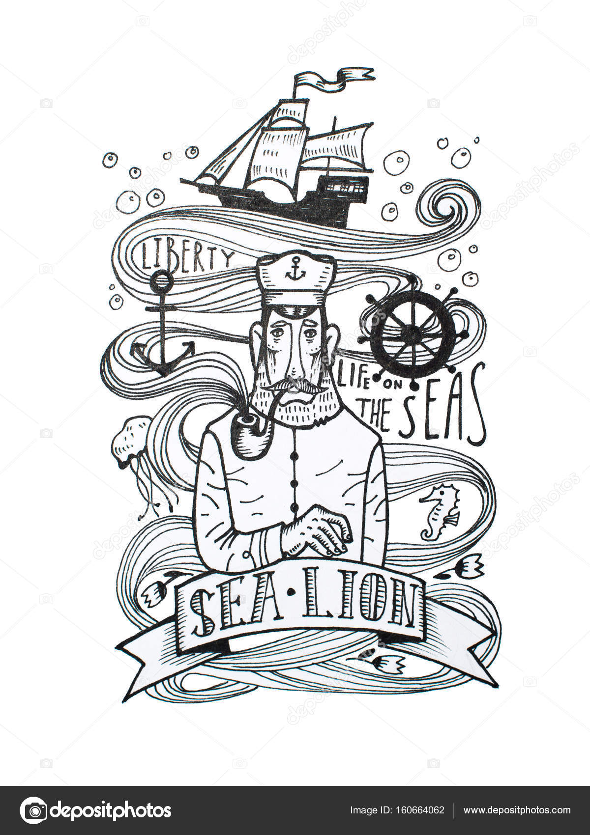 Black and white drawing of captain smoking a pipe with sea symbols ...