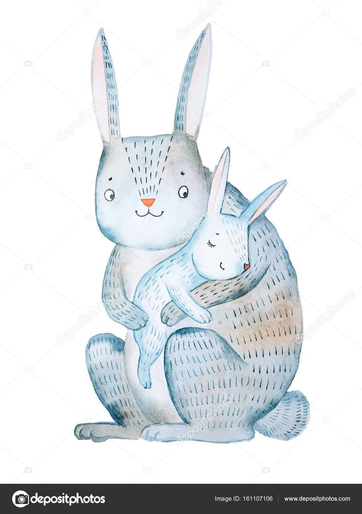 484a9a6cca567 Dessin animé lapin de mère tenant son bébé berçant dormir dessinés à la  main avec aquarelle isolé sur fond blanc– images de stock libres de droits