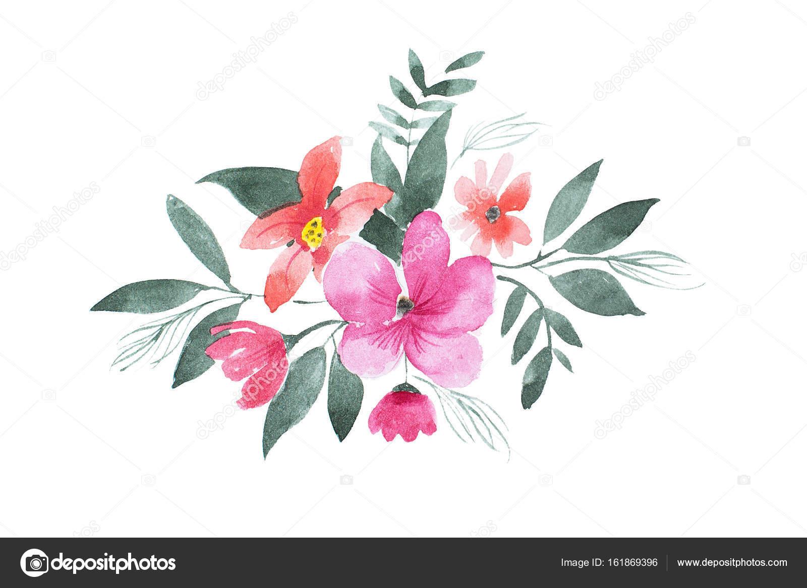 Hoja Coloreada De La Flor Acuarela Dibujo De Composición Floral