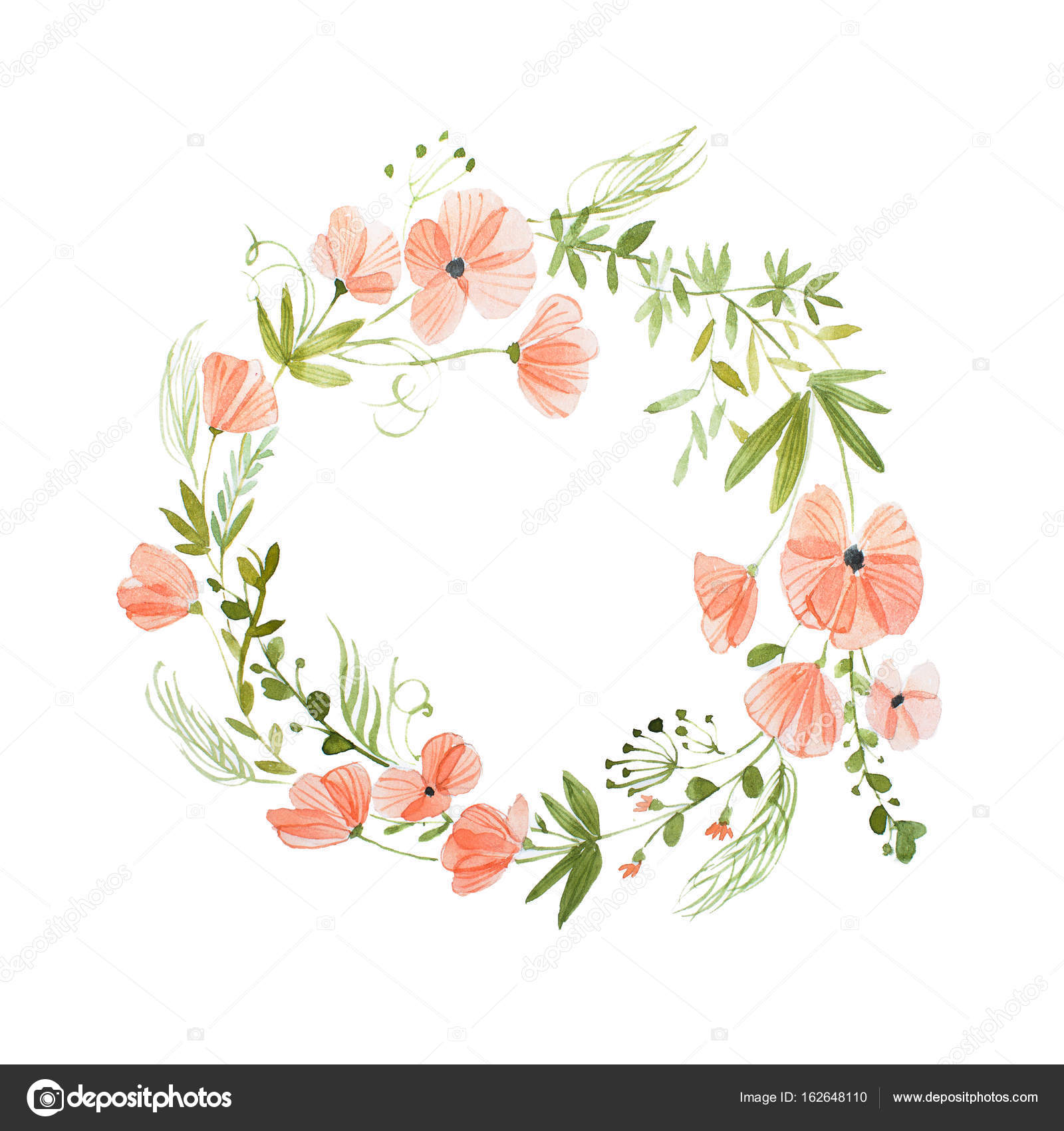 Aquarelle Painting Of Floral Wreath Made Of Wild Flowers Isolated On White Background Stock Photo Image By C Undrey 162648110