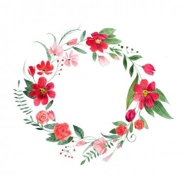 Delicate floral coronet made of pink and red flowers and leaves hand-drawn with watercolor. stock vector