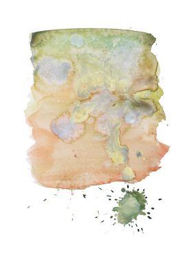 Watercolor aquarelle hand drawn color shape art paint splatter stain